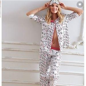 Victoria's Secret Ivory Logo 3 Pc Pajama Set New!